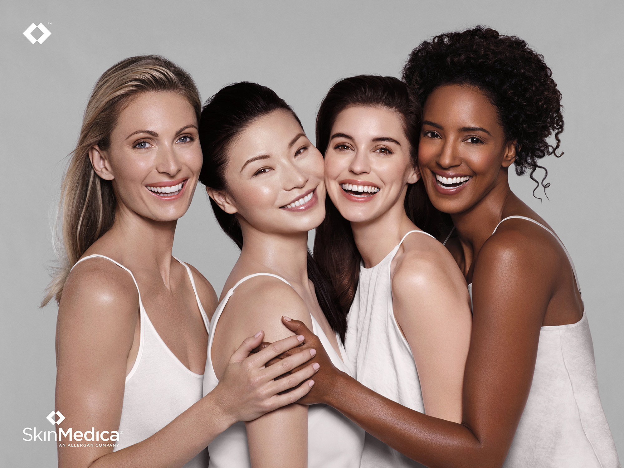models of different skin colors with smooth and clear skin